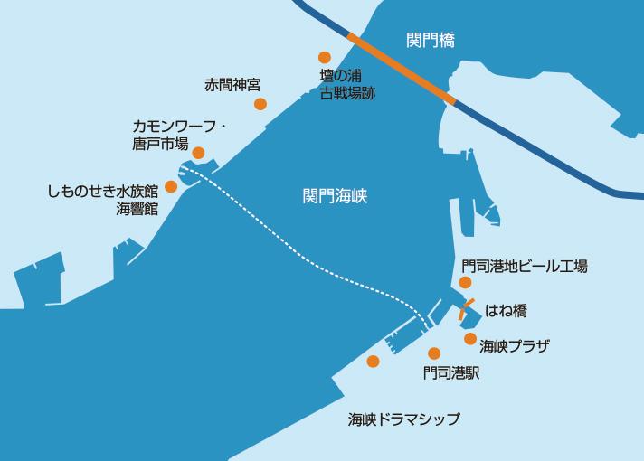 関門連絡船のルート図